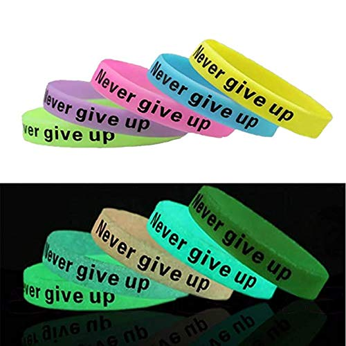 Jeansweet Never Give Up Silicone Wristbands, Glow-in-the-dark Rubber Bracelets