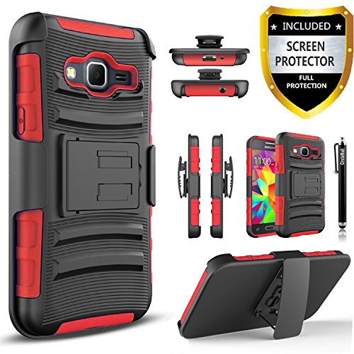 Galaxy Grand Prime Case, Samsung Galaxy Grand Prime Combo Rugged Shell Cover Holster with Built-in Kickstand and Locking Belt Clip + Circle(TM) Stylus Touch Screen Pen (Red)