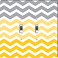 Rikki Knight Chunky Chevron Grey Yellow Mustard Zig Zag Design Double Toggle Light Switch Plate
