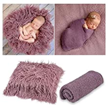 Vedory 2Pcs Baby Photo Props Blanket Stretch Knitted Wrap Swaddle for Boy Girls Photography Shoot Photographic Mat(Purple Blanket + wrap)