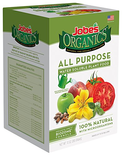 Jobe's Organics All Purpose Fertilizer 5-2-3 Water Soluble Plant Food Mix with Biozome, 10 oz Box Makes 30 Gallons of Organic Liquid Fertilizer ()