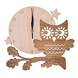Woodot 12.4 inch Wall Clock Silent Non Ticking Decorative Bamboo Owl Clock for School Classroom Child Gifts Living Room Bedroom Easy to Read Arabic Numeral Battery Operated