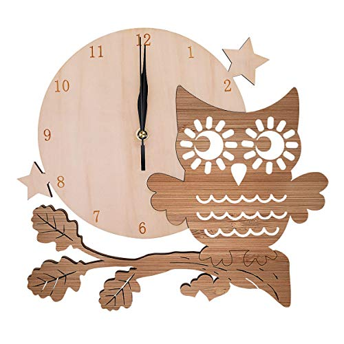 Woodot 12.4 inch Wall Clock Silent Non Ticking Decorative Bamboo Owl Clock for School Classroom Child Gifts Living Room Bedroom Easy to Read Arabic Numeral Battery ()