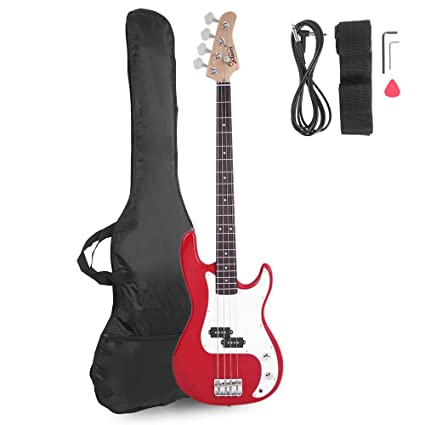 Glarry Electric Bass Guitar Full Size 4 String Rosewood Basswood Fire Style Exquisite Burning Bass ( Red ) best bass guitar