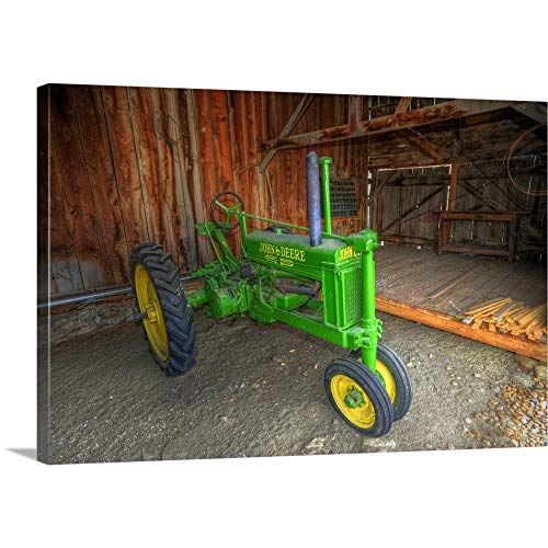 John Deere Tractor in shed, Lohr Farm Museum, Longmont, Colorado Canvas Wall Art Print, 36