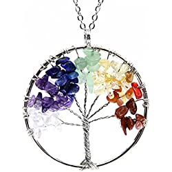 Boutiquelovin Amulet Tree of Life Healing Crystal Stone Pendant Necklace with 26-inch stainless steel chain