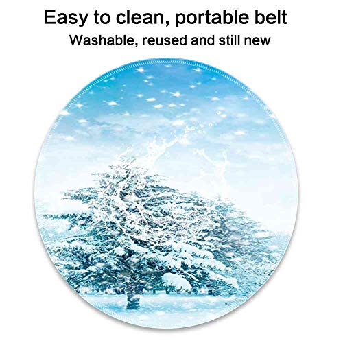 - Round Mouse Pad Mousepad with Winter,Snow Covered Fir Trees on Mountainside Blizzard Arctic Woodland Tranquil Outdooors Pattern Gel Rubber for Gaming Office - 200MMx3MM