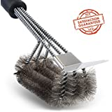 "Grill Brush and Scraper Tapbole Best BBQ Brush Cleaner, Safe 18"" Stainless Steel Woven Wire 3 in 1 Bristles Heavy Duty Cleaning Brush, for Weber Gas/Charcoal Grill, Gifts for Grill Wizard – UPGRADE"