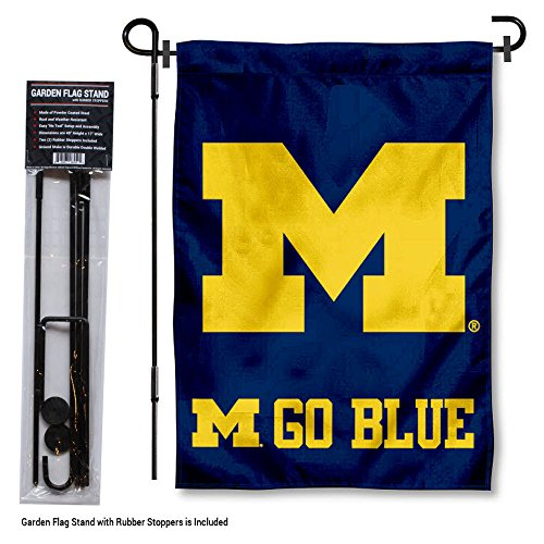 Michigan Wolverines Go Blue Garden Flag with Stand Holder