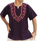 RaanPahMuang Brand Mens Shirt Muang Cotton Embroidered Dashiki Art, XX-Large, Purple