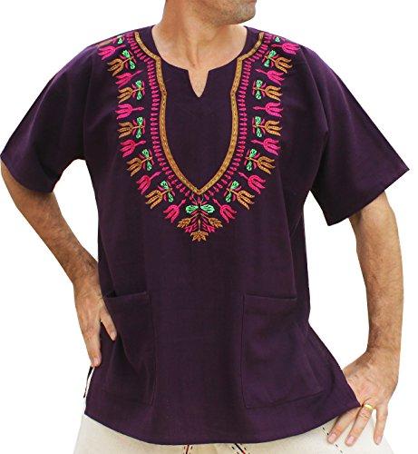 RaanPahMuang Brand Mens Shirt Muang Cotton Embroidered Dashiki Art, X-Small, Purple ()