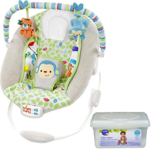 Bright Starts Musical Infant Cradle Vibration Monkey Baby Bouncer with 2 Plush Toys and Baby Wipes