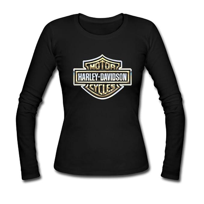 Custom Mujer Harley Davidson Moto Tees de Manga Larga Camiseta: Amazon.es: Ropa y accesorios