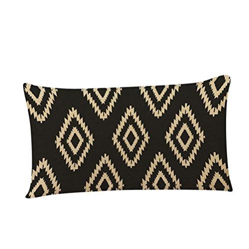 Ikevan Retro Geometric Pattern Black& Brown Rectangle Pillowcases Throw Pillow Cushion Cover Sofa Home Decorative,Linen Blend,12