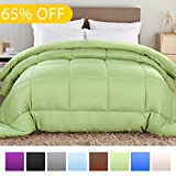Alternative Comforter - Balichun Hotel Collection 1800 Series - Luxury Duvet Insert Goose Down Alternative Quilted Comforter with Corner Tabs - Hypoallergenic, King/Cal King, Light Green