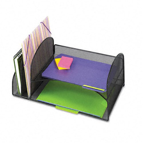 Safco : Onyx Mesh Desk Organizer, 2 Vertl/Horiz Sections, 17 x 10 3/4 x 7 3/4, Black -:- Sold as 2 Packs of - 1 - / - Total of 2 Each