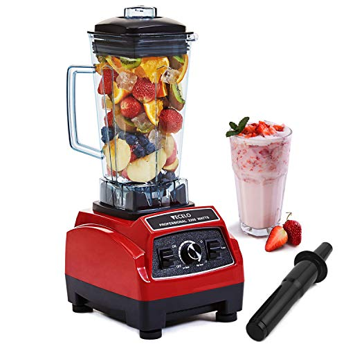 VECELO 2200 Watt Professional Countertop Blender, Total Crushing Technology with up to 45000 RPM Speed for Smoothies,Ice and Nut, 100% BPA Free Pitcher, Red (Best Ice For Smoothies)