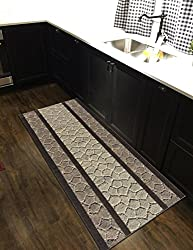 Custom Size Ivory Light-Brown Pebbles Stone Rubber Backed Non-Slip Hallway Stair Runner Rug Carpet 26 inch Wide | Choose Your Length 26in X 20ft