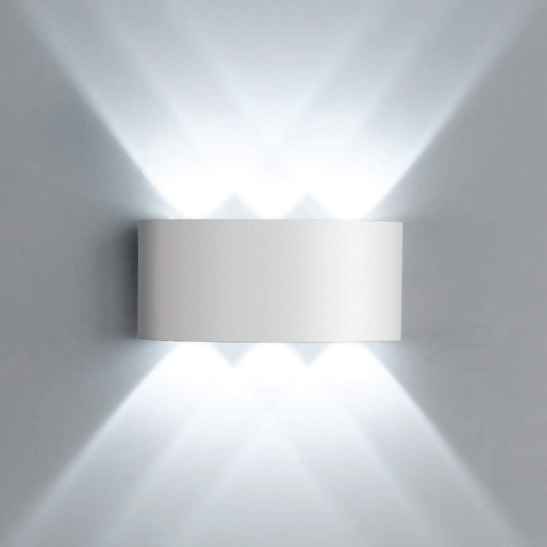 Lightess Apliques de Pared LED Lámpara de Pared Exterior Impermeable IP65 Lámpara Moderna Luz de Aluminio Iluminación para Patio, Jardín, Al Aire Libre, Blanco Frío