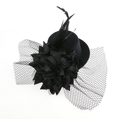 Tinksky Mini Flower Decor Hair Clip Feather Punk Top Hat for Ladies (Black) ()