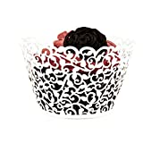 Tinksky Cupcake Wrappers 50 Laser Cut Cupcake Wrappers Decor Wedding Birthday Party Baby Shower Wrap (White)