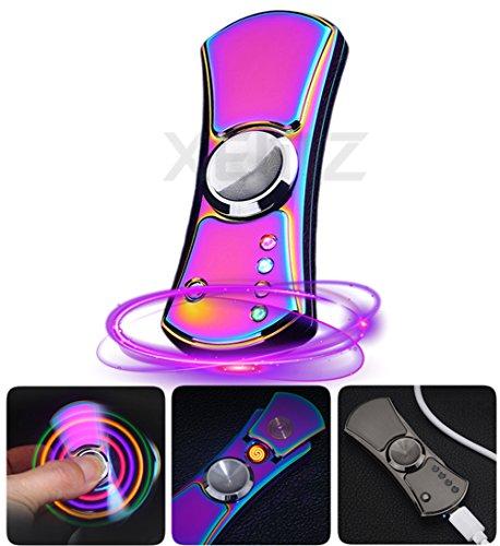 Led Lighter Slim (LED Rechargeable USB Electronic Lighter, Tungsten Cigarette Lighter, Windproof Splash Proof Flameless Beam Lighter, Metal Spinner Cigars Lighter - Men's Creative Gift & Exquisite Packaging (colorful))