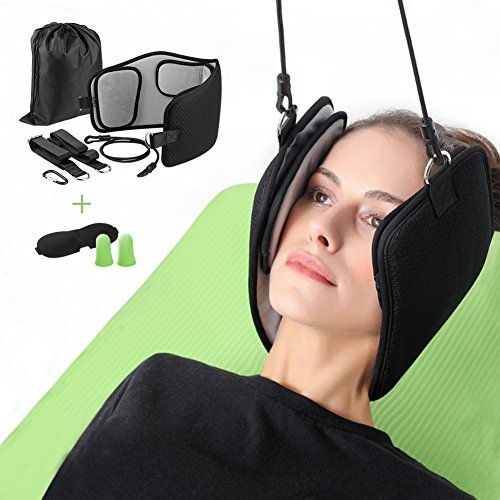 Hammock for Neck Pain Relief - Neck Massager Sling for Man Women Cervical Traction & Relaxation Device,Portable Head Hammock Stretcher with Eyemask and Earplugs by FURNIZONE