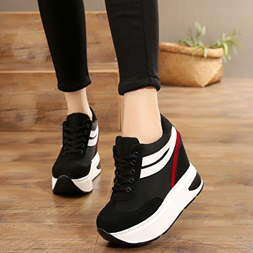 Leisure Black Wedges Shoes Increased Bottom Shoes Match All Heels Spring Thick Bottom High GTVERNH In Single Sports 11Cm The Super Low Muffin SxqgwH1