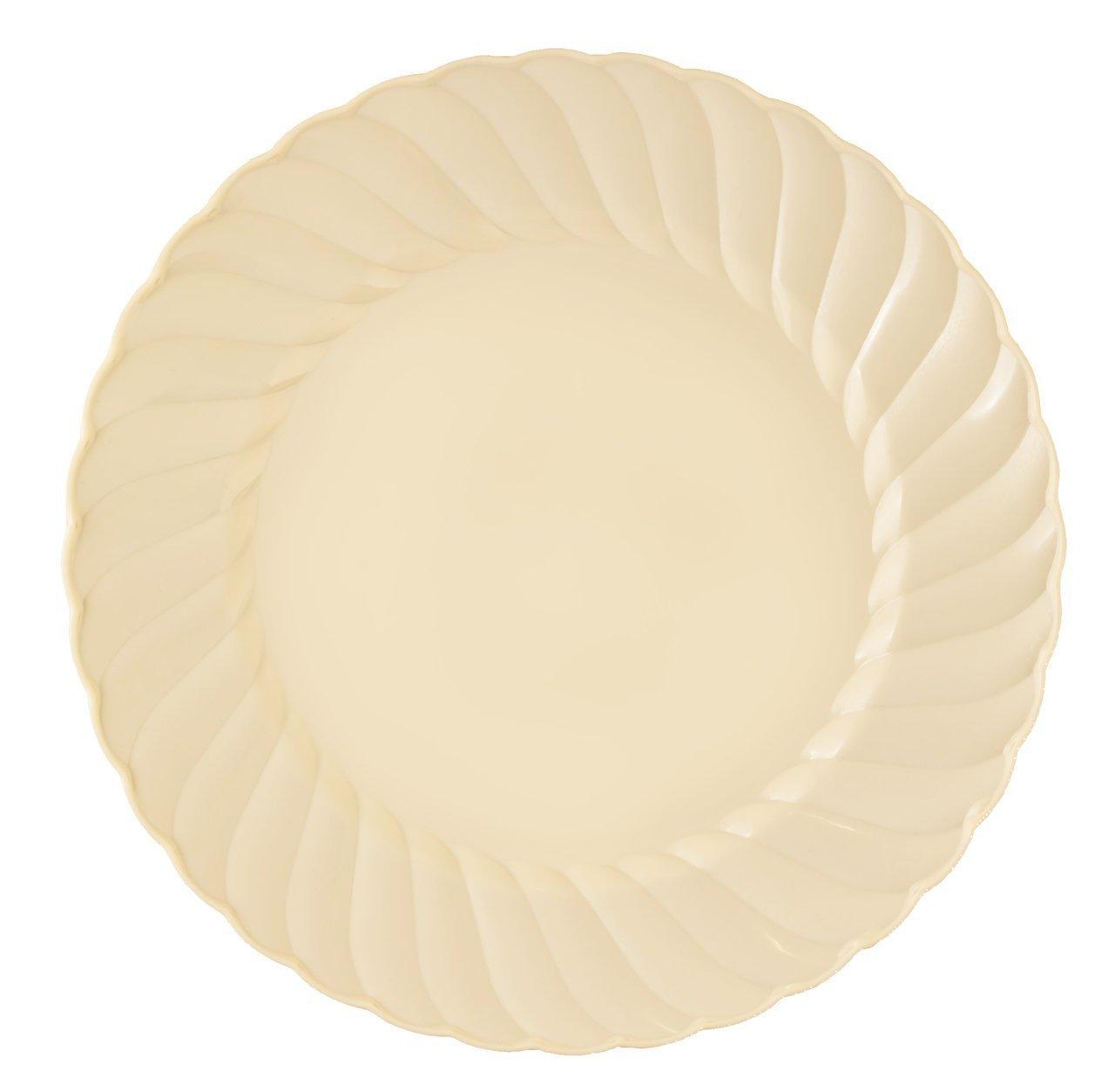 Kaya Collection - Disposable Bone Plastic Round 7.5'' Salad/Dessert Plates - 2 Pack (36 Plates)