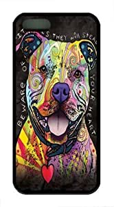Beware of Pit Bulls pc hard Case Cover for iPhone 5 and iPhone 5s Black