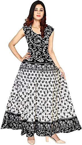 Kristal Organation Women Fit and Flare Cotton Fabric Printed A-Line Maxi Midi Western Long Gown (Multicolour, Free Size)