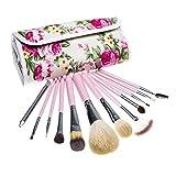 12 Pcs Make up Brush Set Professional Cosmetic Makeup Brushes Set Kits with Rose Pattern Travel Pounch (pink)