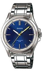 Casio #MTP-E104D-2AV Men's Standard Analog Stainless Steel 50M Blue Dial Watch