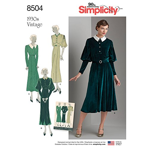 504 D5 Misses' Vintage Dress, Size 4-6-8-10-12 ()