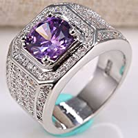 jindarat 925 Silver Natural 2.8CT Amethyst Gem Ring Women Men Wedding Vintage Size6-12 (8)