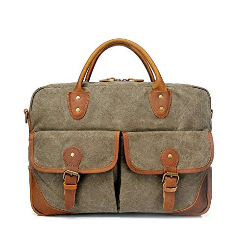 Blue Retro D'ordinateur À Zipper Bag Bandoulière color Messenger Briefcase Sac Toile Mens Simple Armygreen Yahuyaka qYCOwx