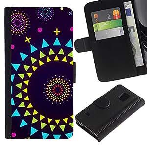 Paccase / Billetera de Cuero Caso del tirón Titular de la tarjeta Carcasa Funda para - sun planets abstract polygon art purple - Samsung Galaxy S5 V SM-G900