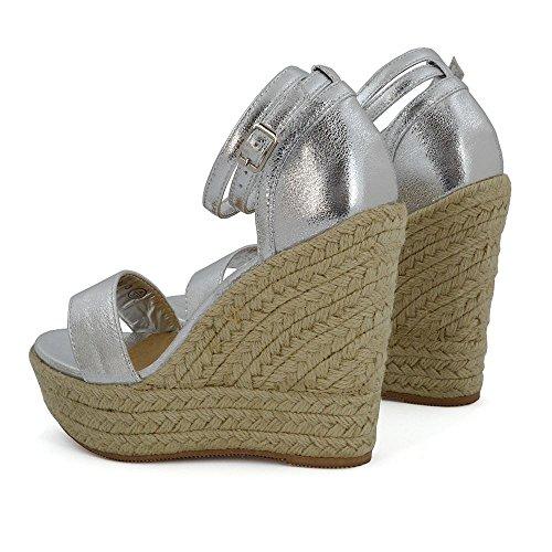 Sandals Peeptoe ESSEX Platform GLAM Heel Espadrilles Ankle Ladies Wedge Womens Silver High Strappy xTYvpqUwT