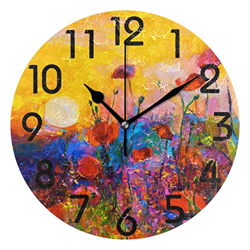Naanle Modern Colorful Poppies Painting Art Print Round Wall Clock Decorative, 9.5 Inch Battery Operated Quartz Analog Quiet Desk Clock for Home,Office,School(Floral) (Unique Colorful Clocks Wall)
