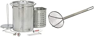 Bayou Classic 1118 32-Quart Stainless Steel Turkey Fryer & 0186, 18-in Nickel-Plated Skimmer, 18 inches, Silver
