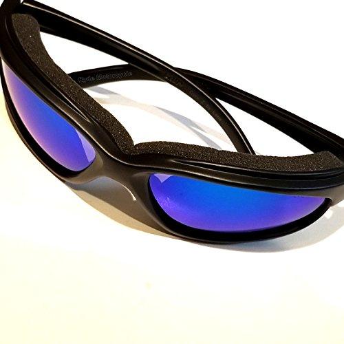 1947d90303b4 CurvZ 02-19 Blue Mirror Smoke Lense Motorcycle Sunglass Soft Foam Padding -  Anti-