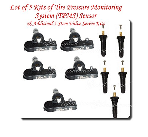 Wrangler Dodge Jeep (Set of Five (5) Jeep Chrysler Dodge Ram Tire Pressure Sensors TPMS 56029398AB)