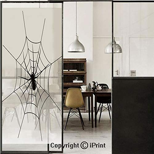 Spider Web 3D Decorative Film Privacy Window Film No Glue,Frosted Film Decorative,Black Spooky Spider Weighs on a Web Creepy Crawly Organism Tangled Monochrome,for Home&Office,23.6x70.8Inch Black Whit