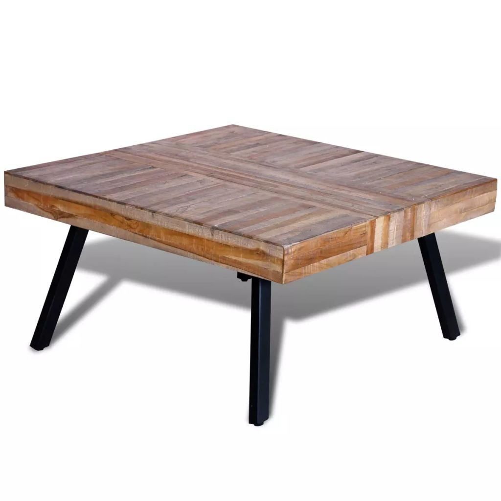 vidaXL Table basse carrée en teck recyclé Table de rangement Table de salon Table Carré
