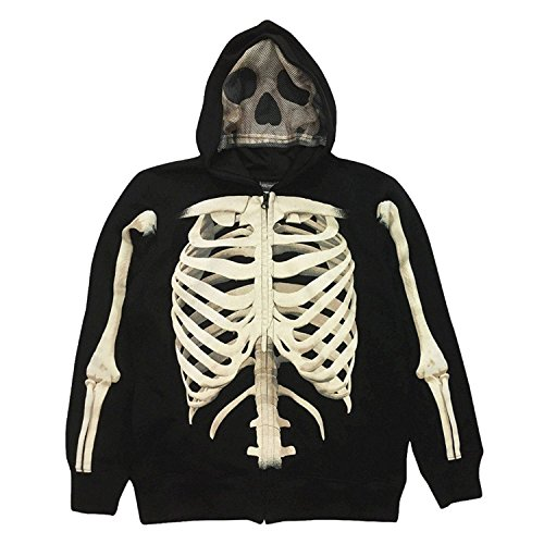 - Extreme Concepts Boys' Hoodies Skeleton Cotton Zip Sweatshirt - S