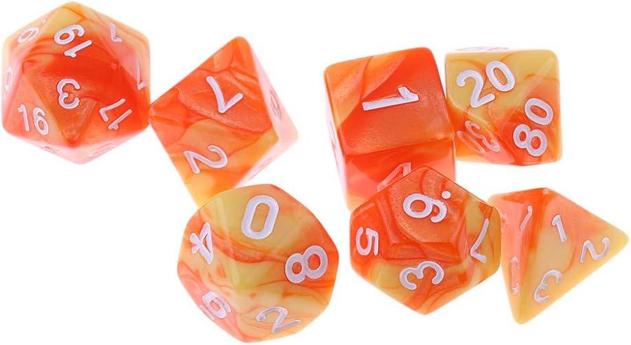 LDYGHome Dados Set para Dragones Y Mazmorras D&D, Dado Poliédrico Y De rol, 7 Piezas D4 D6 D8 D10 D12 D20 De Doble Color Amarillo Anaranjado Multi-Sided Dados Cube para Juego De