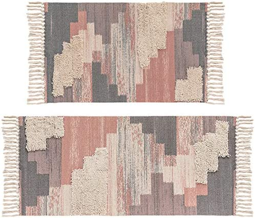 Tuft Area Rug Set, HiiARug Cotton Woven Throw Rug Cotton Floor Mat Machine Washable for Entry Living Room Bedroom Ombre Red Geometric Pattern 2 x3 2 x4 4