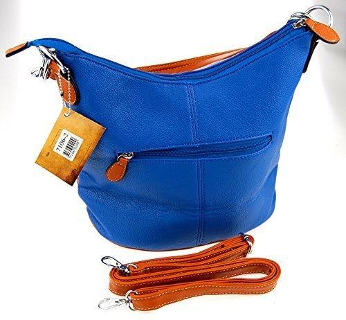 M99 Tasche, Damentasche, Schultertasche, Umhängetasche (7106-2) Blau, ca. 25 x 30 x 17 cm