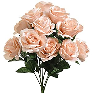 Boomer888 Nude 12 Large Open Roses Long Stem Elegance Silk Wedding Home & Craft Decorations Flowers Bridal Bouquets Light Peach 17 inches Tall Vintage Bohemian Rustic Country Modern Trendy 97