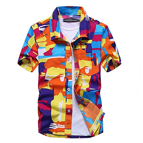 Piiuiy Yuik Mens Summer Beach Hawaiian Shirt Short Sleeve Plus Size Men Casual Holiday Vacation Clothing Camisas